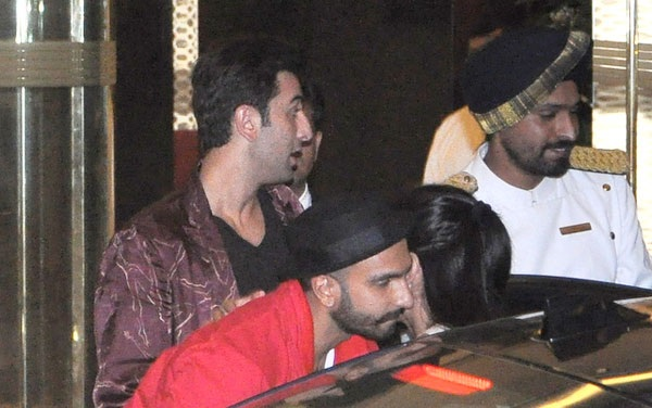 Ranbir Kapoor with Ranveer Singh at Arjun Kapoor's birthday bash