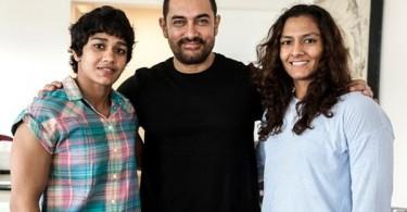 Aamir Khan meets the Phogat sisters Babita and Geeta