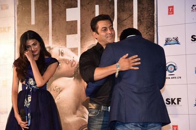 Sooraj Pancholi hugs Salman Khan