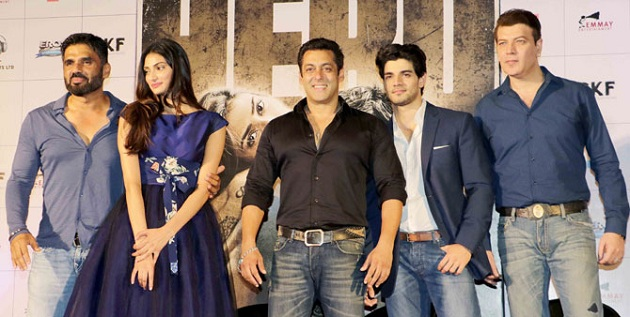 Sunil Shetty, Athiya Shetty, Salman Khan, Sooraj Pancholi and Aditya Pancholi