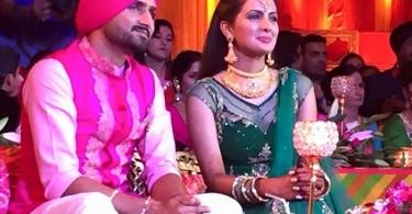 Harbhajan Singh and Geeta Basra at their sangeet ceremony