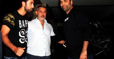 Ranbir Kapoor, Karan Johar spotted at Aamir Khan's Residence