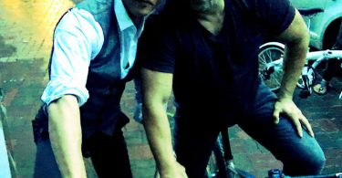 Shahrukh Khan cycling with Salman Khan