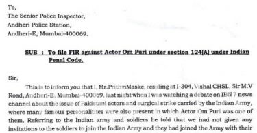 FIR lodged against Om Puri for passing an insensitive statement about the Indian martyrs
