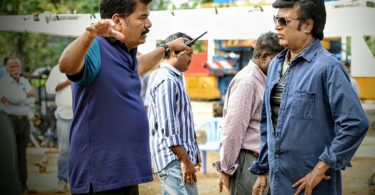 Rajinikanth with Shankar on the sets of 2.o