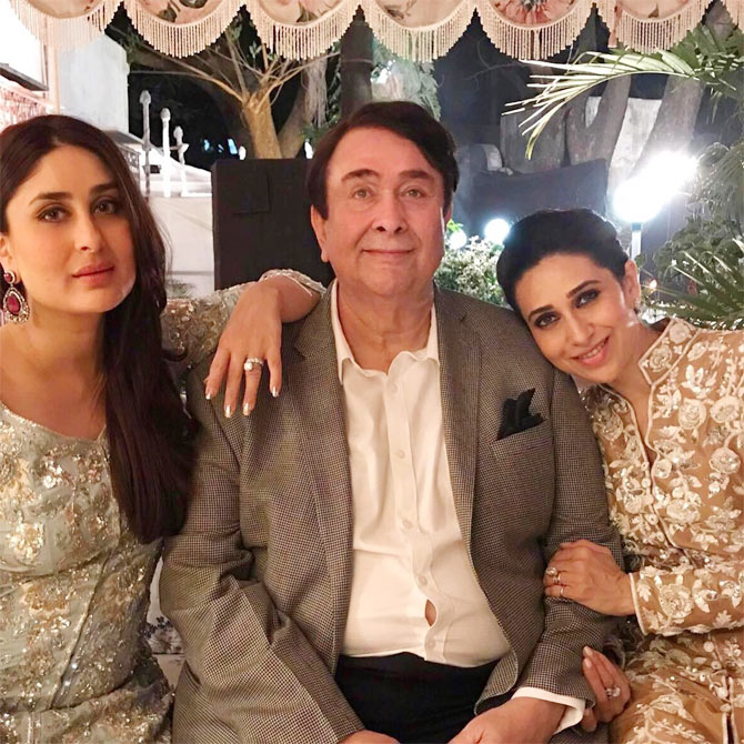 Kareena, Karisma celebrate dad Randhir's birthday