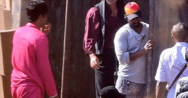 Ranbir Kapoor on the sets of Sanjay Dutt Biopic