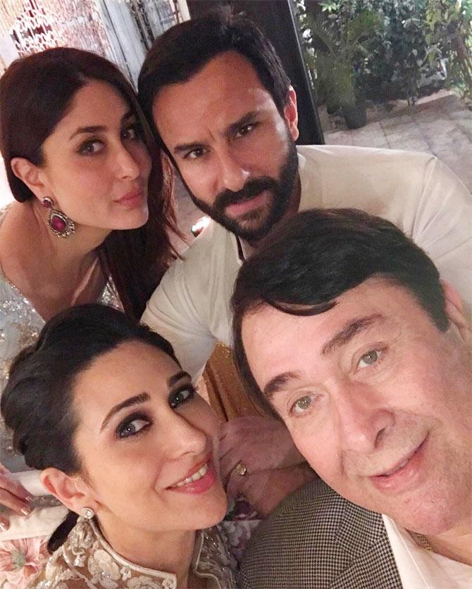 Saif Ali Khan, Kareena, Karisma with Randhir Kapoor