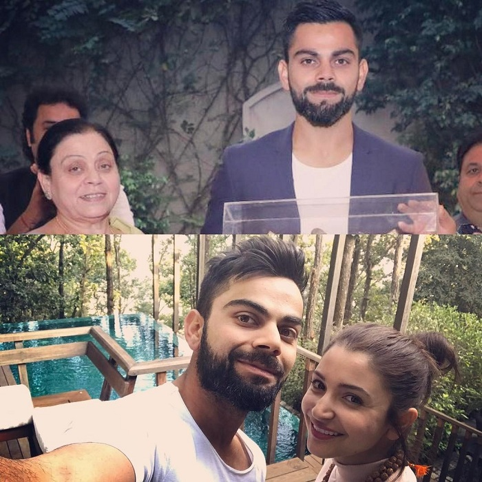 Virat Kohli with his mother Saroj Kohli and Anushka Sharma