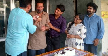Sanjay Dutt celebrates after wrapping up Bhoomi shoot
