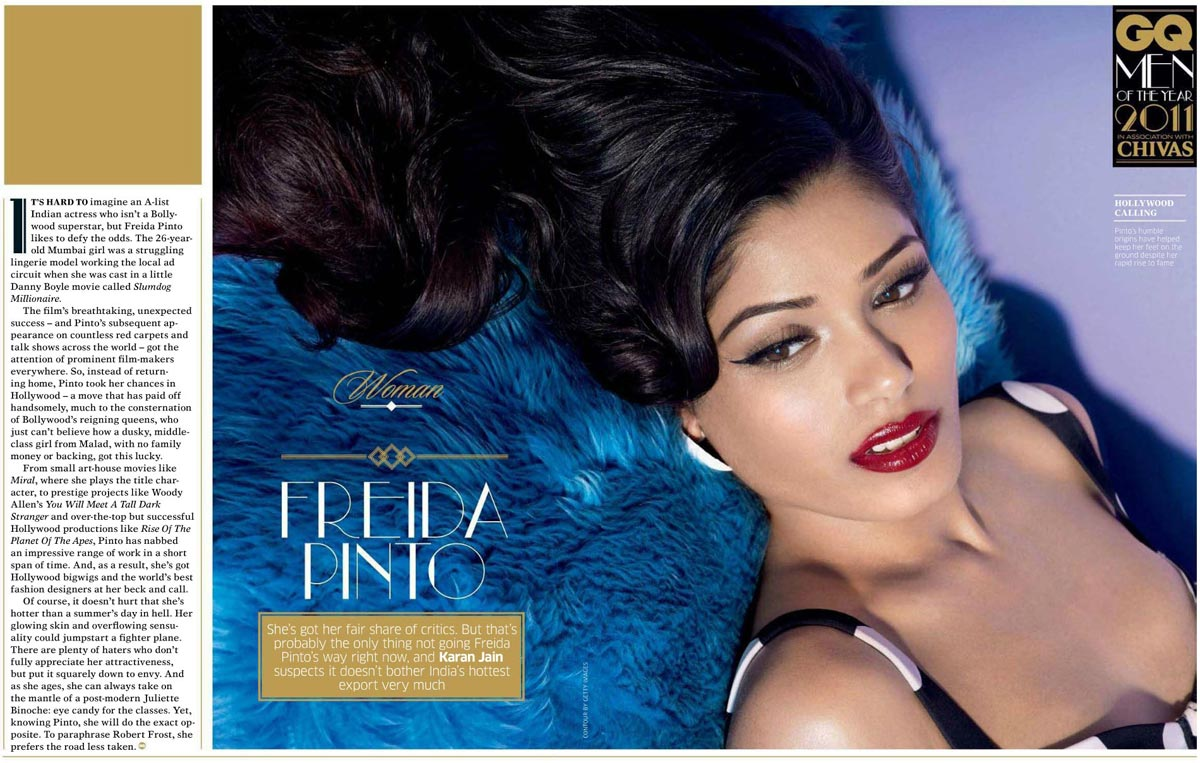 Freida Pinto on GQ India's October 2011 Issue Scans Picture