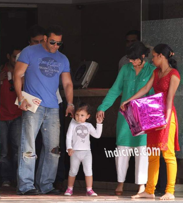Salman Khan with family outside his residence