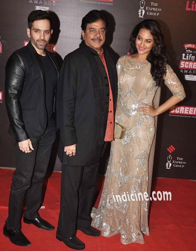 Shatrughan Sinha with son Luv Sinha and daughter Sonakshi Sinha