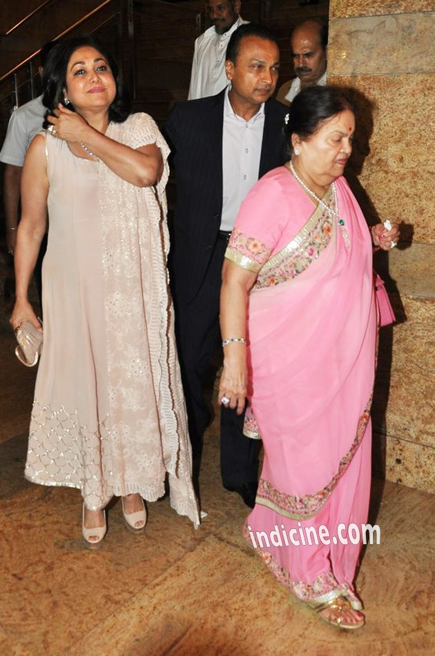 Anil Ambani with wife Tina and mother Kokilaben