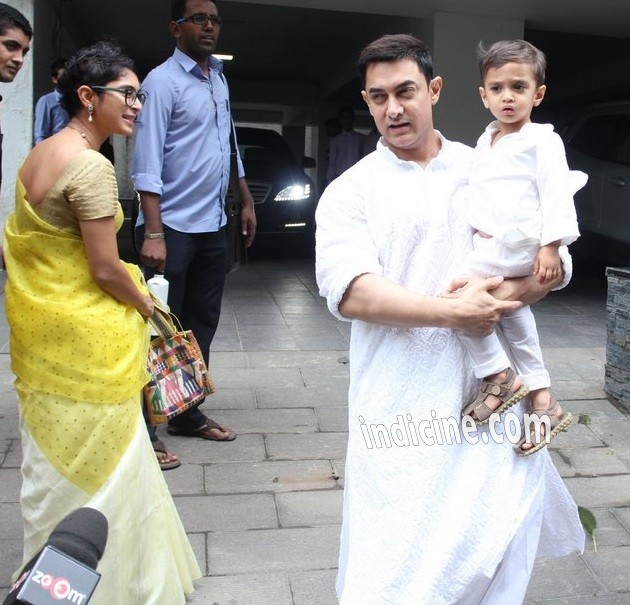 Aamir Khan with wife Kiran Rao and son Azad Rao Khan