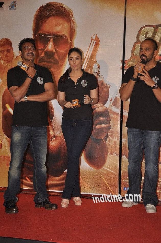 Ajay Devgan, Kareena Kapoor and Rohit Shetty