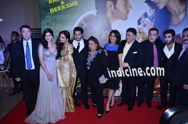 Randhir Kapoor, Deeksha Seth, Rekha, Armaan Jain, Reema Kapoor, Neetu Singh, Rishi Kapoor, Rajiv Kapoor and Aadar Jain