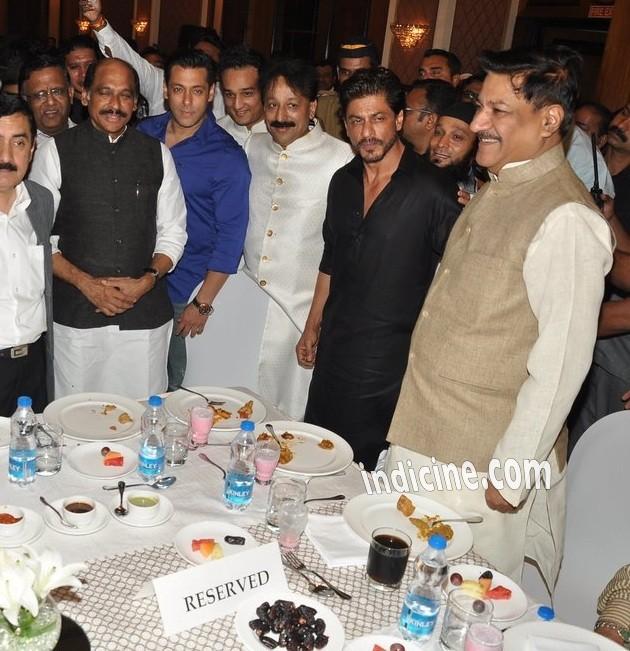 Salman Khan, Baba Siddique, Shahrukh Khan and Prithviraj Chavan