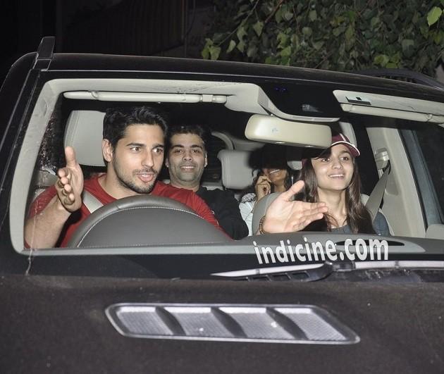 Sidharth Malhotra, Alia Bhatt and Karan Johar