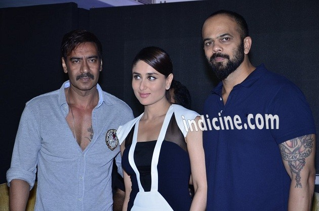 Ajay Devgan, Kareena Kapoor and Rohit Shetty
