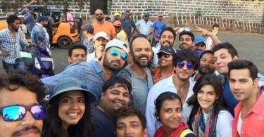 SRK Rohit Varun Kriti on Dilwale sets