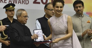 Kangana Ranaut collected her National Award from President Pranab Mukherjee