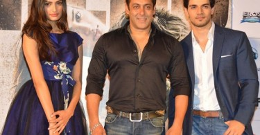 Athiya Shetty, Salman Khan and Sooraj Pancholi at Hero trailer launch