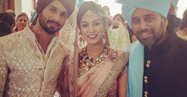 Shahid Kapoor, Mira Rajput pose for photographers after their wedding