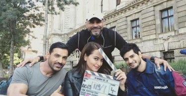 John Abraham, Sonakshi Sinha, Tahir Raj Bhasin on the sets of Force 2
