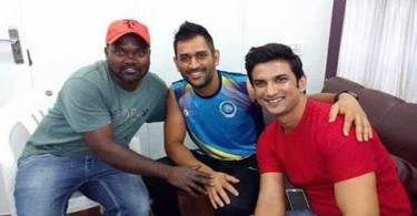 M S Dhoni meets Sushant on the sets of M S Dhoni The Untold Story