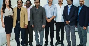 Rajinikanth and Akshay Kumar on the sets of Endhiran 2.0