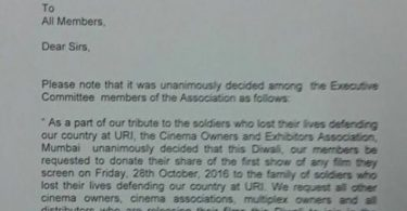 Official letter by Cinema Owners and Exhibitors' Association