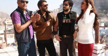 Ajay, Emraan, Esha, Milan Luthria on the sets of Baadshaho